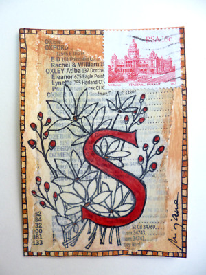 Original mixed media ACEO, collage, Stadsaal