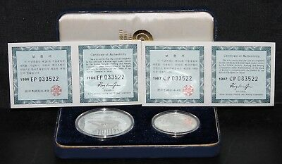 South Korea Seoul 1988 Olympics 2 Coin Proof Set 1 Oz. Silver, Half Oz. Silver
