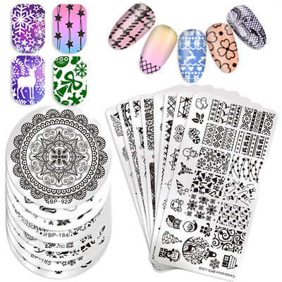 BORN PRETTY Pop Pattern Nail Stamping Plates Lace Flower Animal Template Stencil