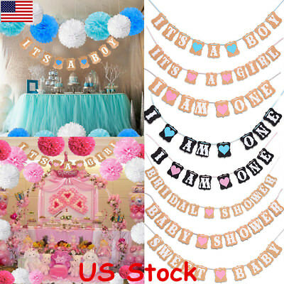 Baby Shower Boy Girl 9 Style Bunting Party Banner Garland Photo Props Decor USA