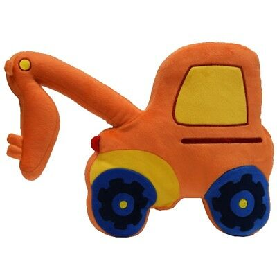 Childrens Cute Digger Shaped Truck Orange Luxury Soft Filled Cushion Kids New -