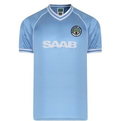 XL Blue Manchester City 1982 Chemise Rétro - Official Licensed Football Product