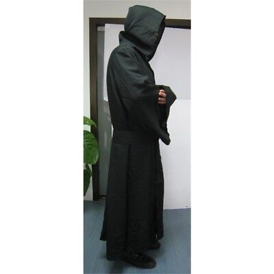 Robe & Hood Warrior Black Linen Material - Adult Halloween Hooded Long Cloak