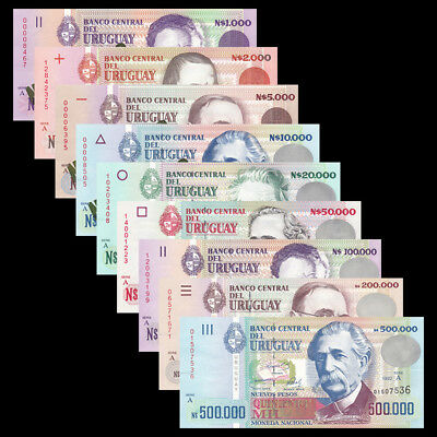 Uruguay set 9 PCS, 1000-500000 Pesos, 1989-1992, Serial A, Green, UNC
