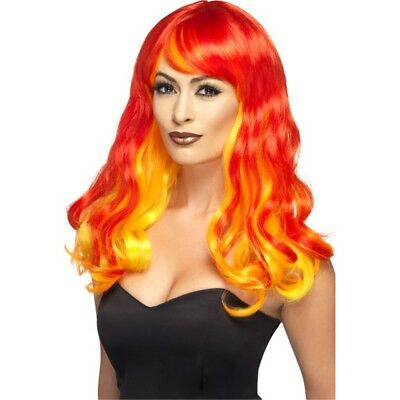 Ombre Flame Devil Wig - Fancy Dress Red Halloween Ladies Adult Womens Costume
