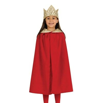 Red Childrens Nativity King Costume - Cloak One Size Kids Queen 39 Yrs Fancy