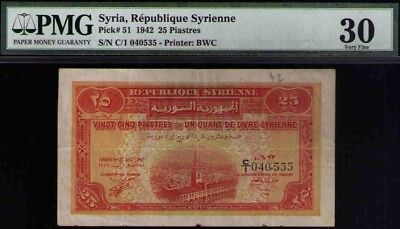 Syria:P-51,25 Piastres 1942 * Omayyad Mosque * PMG 30 Natural strong colors look