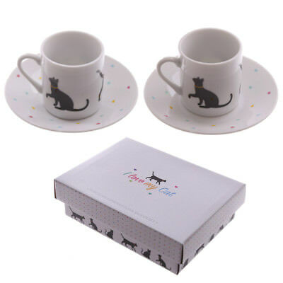 Puckator I Love My Cat Porcelain Small Espresso Cup & Saucer Set of 2 Gift Box