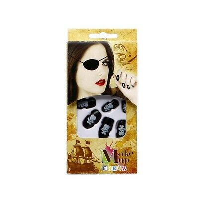 Atosa – 14803 – f Skull False Nails In Black 14 x 7 adhesive – 5 cm - Design 10