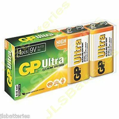4 x GP ULTRA 9V Batteries MN1604 6LR61 PP3 BLOCK 6LF22 ALKALINE 1604AU