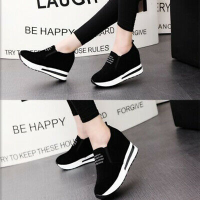 Women Fashion Casual Suede Wedge Platform Shoes Athletic Outdoor Sports Sneakers