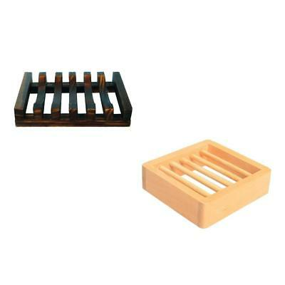 Set 2 Pieces Natural Wooden Soap Holder Soap Dish Handmade Soap Box Case