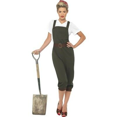 WW2 Country Girl Costume - Fancy Dress Womens Land World War Ladies Outfit
