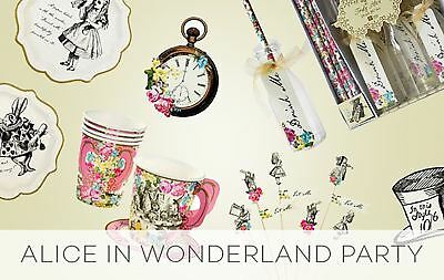 Alice In Wonderland Mad Hatters Party Bags Tableware Napkins Plates Stickers