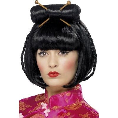 Oriental Lady Wig - Fancy Dress Chinese Black Ladies Geisha Costume Accessory