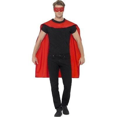 Smiffy's Men's Superhero Accessory Kit (red) - Cape Mask Fancy Dress Mens