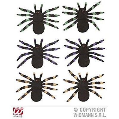 12cm Set Of Flocked Spider Decoration - 2 Spiders Green Purple Orange Insects