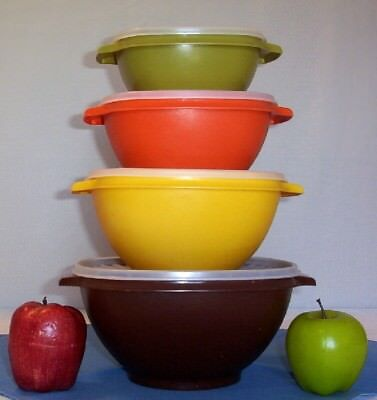 Tupperware 4 HARVEST Servalier Bowls ~12c BROWN ~8c YELLOW ~6c ORANGE ~4c GREEN