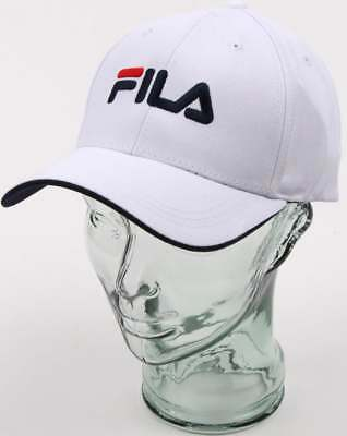 64a59a22db3 Fila Vintage Humphrey Baseball Cap in White - curved peak strap back hat  SALE