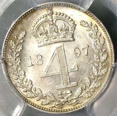 1897 PCGS MS 63 PL 4 pence BU Flashy 9K minted GREAT BRITAIN Coin (16102608C)