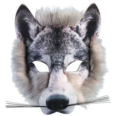 Forum Novelties X78180 Wolf Realistic Fur Face Mask, Grey, One Size - Mask
