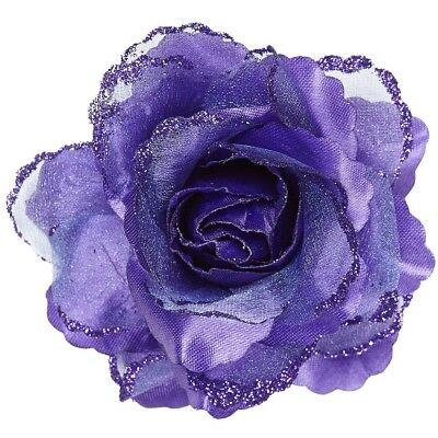 Purple Glitter Rose Hair Clip - Roses Accessories Buttonhole Headdress Flower