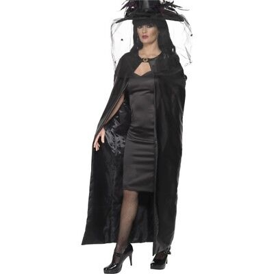 Smiffy's Deluxe Witch Cape - Black, Adult - Halloween Fancy Dress Ladies