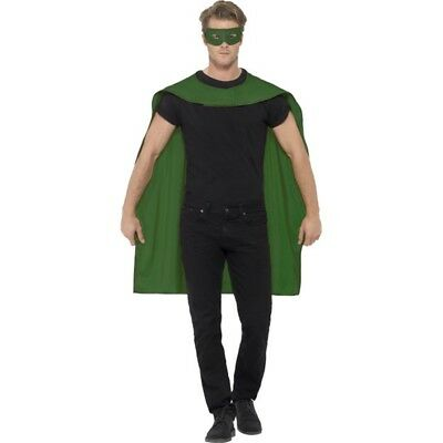 Smiffy's Unisex Cape And Eye Mask Set (green) - Superhero Fancy Dress Mens
