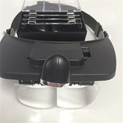 Hands Free Head Magnifier Magnifying 2 LED Glass With 5 Lens Loupe - Light