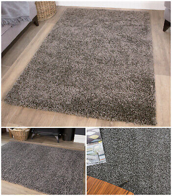 Soft Grey Bedroom Shaggy Rugs Fluffy Warm Easy Clean Circle Roung Charcoal Rugs