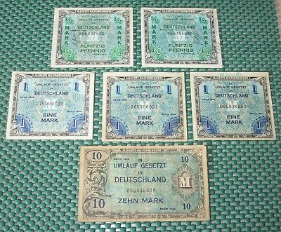 Germany Deutschland 1944 Lot Of 6 Paper Money~Circulated~Free Shipping~