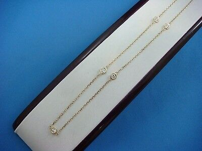 """Handmade 0.50 Ct """"diamonds By The Yard"""" 5 Stations 14K Yellow Gold Necklace"""