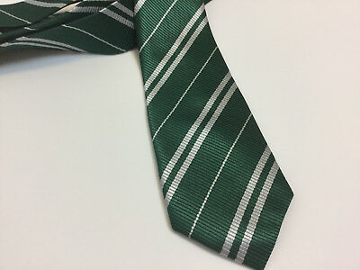 Slytherin Tie ~Green with Silver Grey Stripes for Harry Potter Halloween Costume