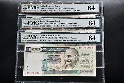 3 x India 1977  pick#87b PMG64  ,Consecutive numbers 6079-80-81