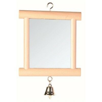 Trixie Mirror With Wooden Frame/bell, 9 × 10cm - Framed Bell Bird Toy Cage Pet