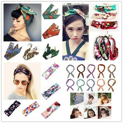 European Women Vintage Flower Silk Headwrap Hair Band Bow Knot Floral Headband