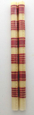 Smith & Hawken tapered candle beeswax ecru & red stripes handcrafted NEW