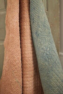 Antique French piquee Quilt c1810 small scale dress fabric pink  indigo blue