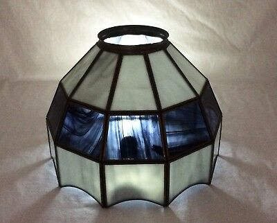 """Vtg Leaded Slag Stained Glass 10"""" Lamp Shade Ceiling Hanging Light Mission Style"""
