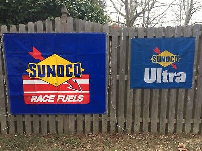 Vintage Sunoco Race Fuels & Sunoco Ultra Banners & Stickers Lot