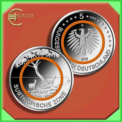 "5 Euro Gedenkmünze Deutschland Germany 2018 Stgl. orange ""Subtropische Zone"""
