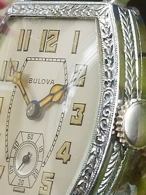 """Ac5: Rare '27 Vintage Bulova Perfect Dial Chased """"banker"""" Broad Case Mens Watch"""