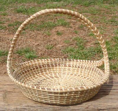 "Vintage Charleston SC Low Country Gullah Sweetgrass 11"" BASKET TRAY African Made"