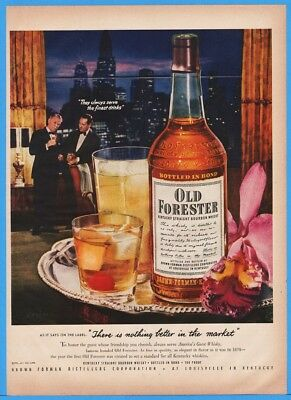 1952 Old Forester Whisky Brown Forman Distillers Louisville Kentucky Skyline Ad