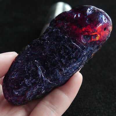 33.2g 100% Natural Polished Mexican Blue Amber Potato Intact Specimen YQB366