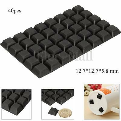40pcs Self Adhesive Rubber Feet Bumper Non Slip Door Furniture Buffer Pad Black