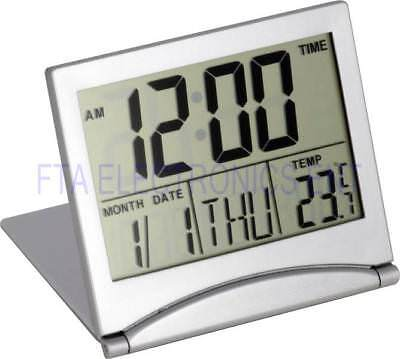 Desk Alarm Clock Calendar Alarm Day Temperature Digital Large Number LCD Silver