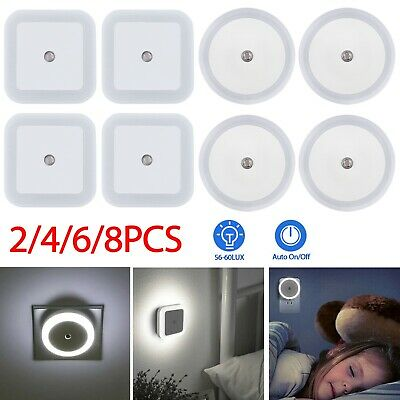 8 Auto Sensor LED Wall Lamp Night Light Plug in with Dusk Offset Prongs White US