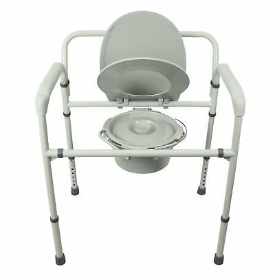 Bariatric Bedside Commode by Vive - 3 in 1 Toilet Chair - Extra Wide, & Folding