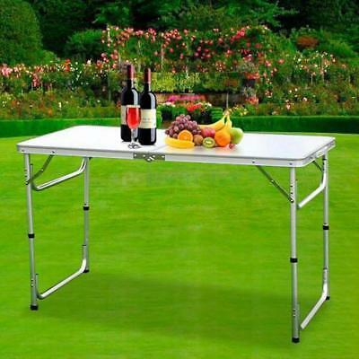 4Ft Centerfold Folding Party Table Weather Resistant White Tables Indoor Outdoor